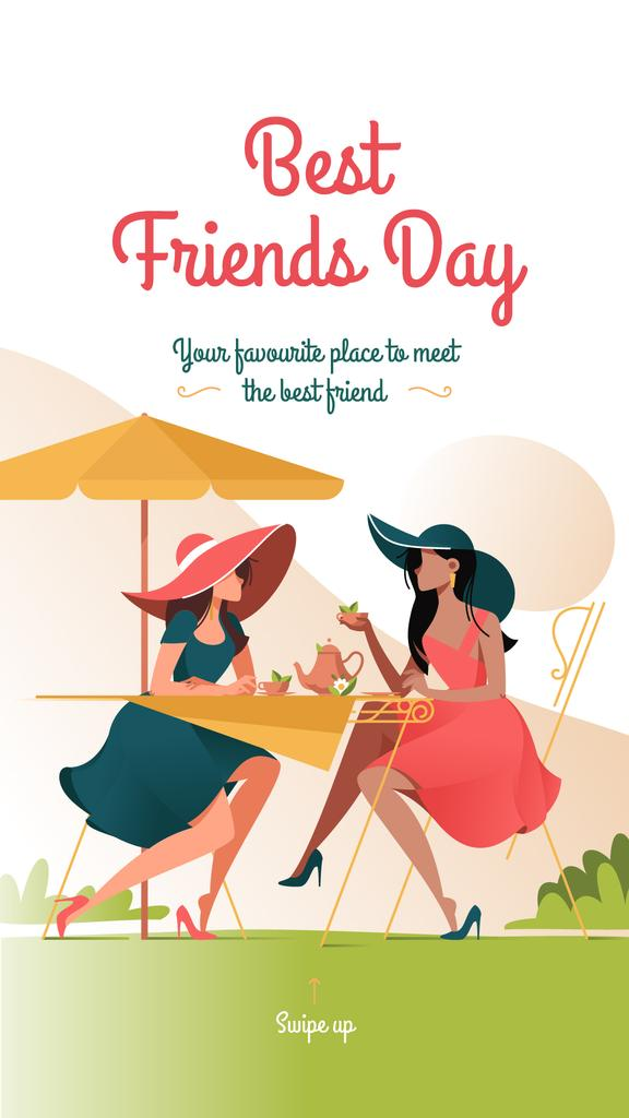 Ontwerpsjabloon van Instagram Story van Women drinking coffee on Best Friends day