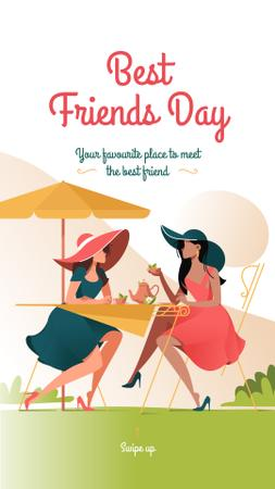 Women drinking coffee on Best Friends day Instagram Story Design Template