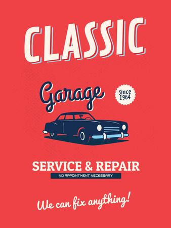 Garage Services Ad Vintage Car in Red Poster USデザインテンプレート