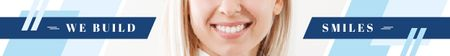 Ontwerpsjabloon van Leaderboard van Dentistry Ad Female Smile with White Teeth