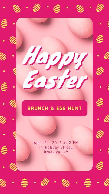 Plantilla de diseño de Colored Easter eggs on Pink Instagram Story
