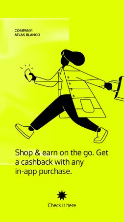 Cashback Services ad with Woman holding Phone Instagram Story Design Template