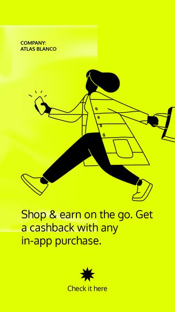 Template di design Cashback Services ad with Woman holding Phone Instagram Story