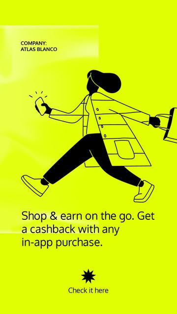 Modèle de visuel Cashback Services ad with Woman holding Phone - Instagram Story