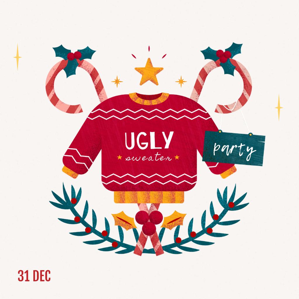 Template di design Seasonal Sale Christmas Sweater in Red Instagram