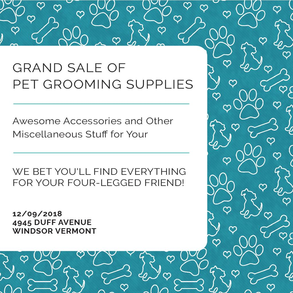 Pet Grooming Supplies Sale with animals icons — Modelo de projeto