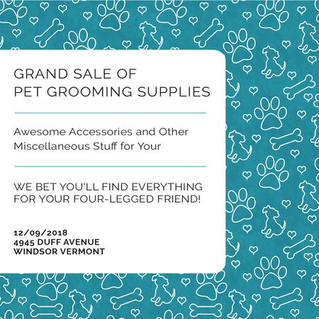 Template di design Pet Grooming Supplies Sale with animals icons Instagram AD