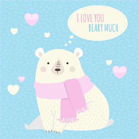 Plantilla de diseño de Cute Bear with Hearts Instagram
