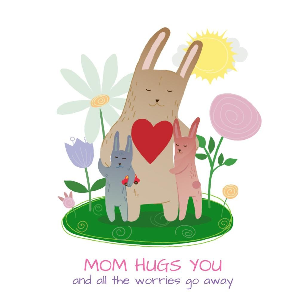 Bunny hugging its kids — Create a Design