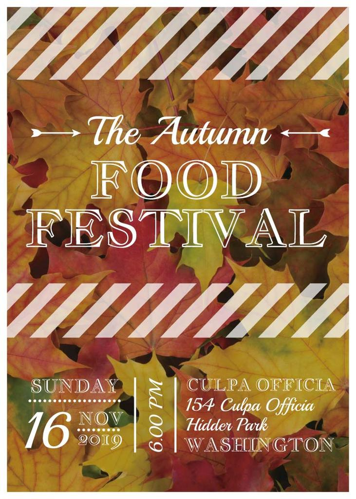 Autumn food Festival ad on Yellow Leaves - Bir Tasarım Oluşturun