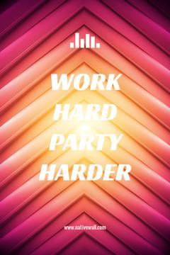 Hard Work Quote on Geometric Bright Background