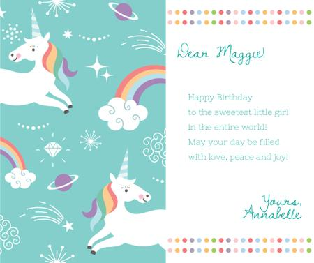Happy Birthday Greeting Magical Unicorns Facebook Modelo de Design