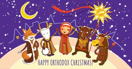 Orthodox Christmas with Funny Characters Facebook AD – шаблон для дизайна