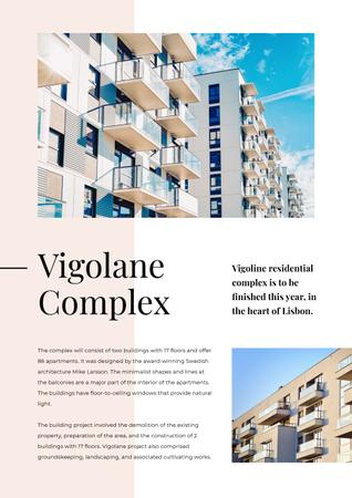 Living Complex Ad with Modern House Newsletter Tasarım Şablonu