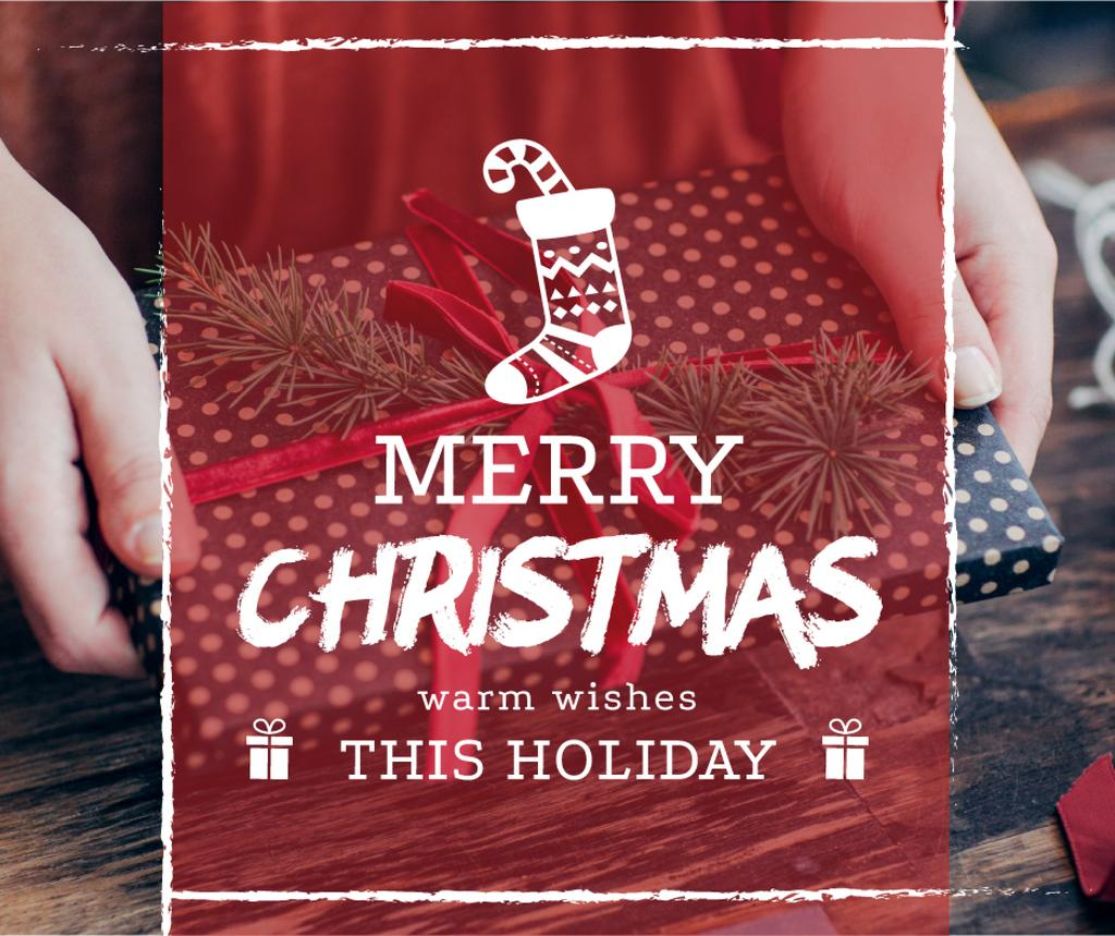 Merry Christmas greeting Woman wrapping Gift — Create a Design