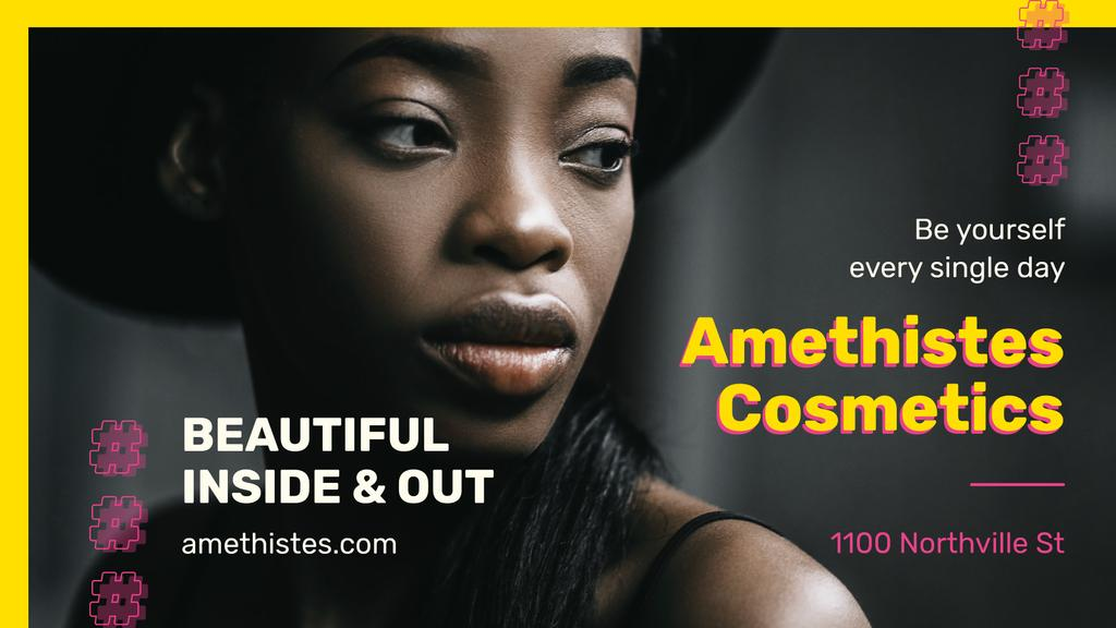 Cosmetics Ad Beautiful African American Woman | Facebook Event Cover Template — ein Design erstellen