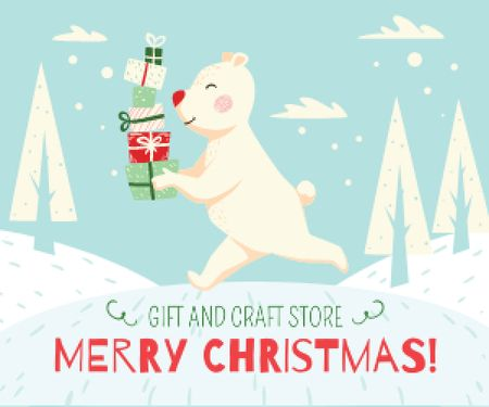 Plantilla de diseño de Christmas bear with gifts Medium Rectangle