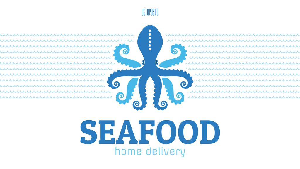 Seafood Octopus in Sea Waves in Blue | Full Hd Video Template — Створити дизайн