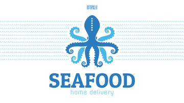 Seafood Octopus in Sea Waves in Blue | Full Hd Video Template