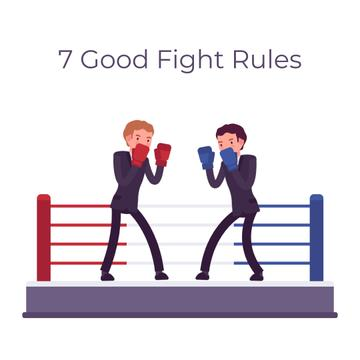 Two businessmen boxing on ring