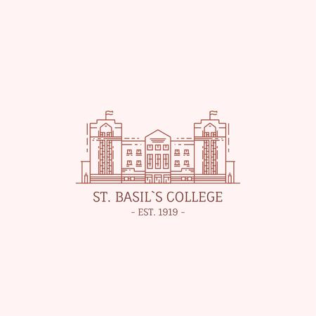 College Campus Building Icon Logo Modelo de Design