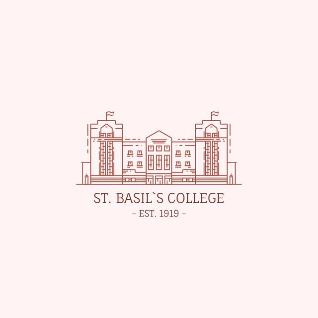 College Campus Building Icon Logo Modelo de Design