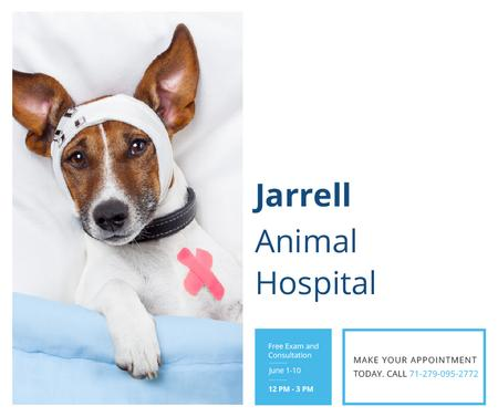 Animal Hospital Ad with Cute injured Dog Facebook Modelo de Design