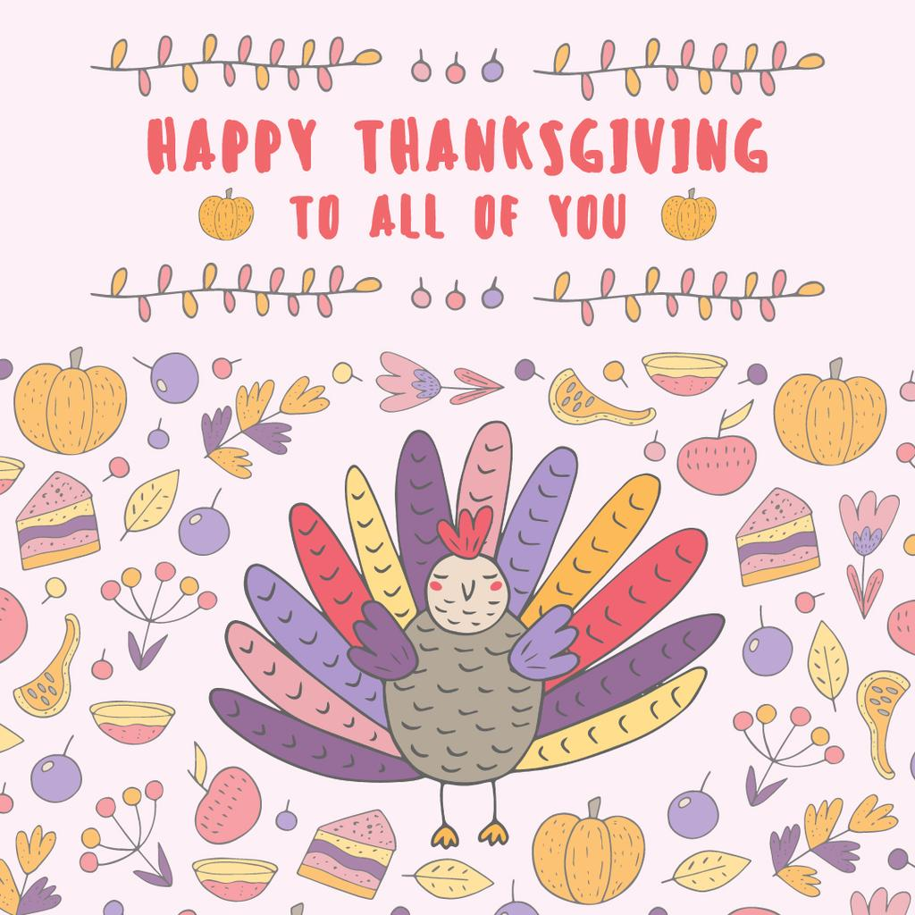 Thanksgiving day greeting with Colourful turkey — Modelo de projeto