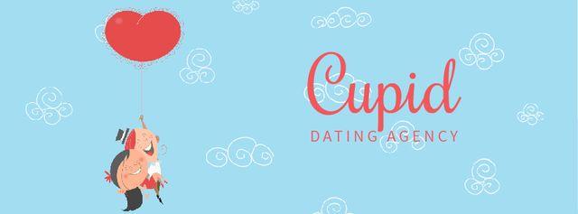 Romantic Couple Flying on Heart Balloon  Facebook Video cover Modelo de Design