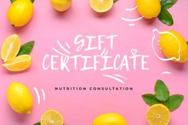 Nutrition Consultation offer in Lemons frame Gift Certificate Design Template