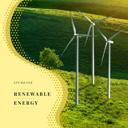 Renewable Energy Wind Turbines Farm Instagram AD Modelo de Design