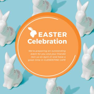 Easter Greeting with Bunny Figures in blue