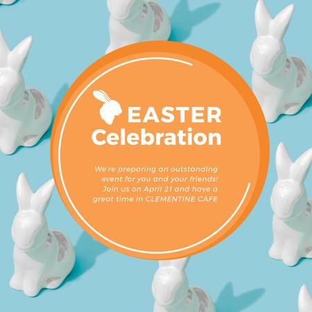 Plantilla de diseño de Easter Greeting with Bunny Figures in blue Animated Post