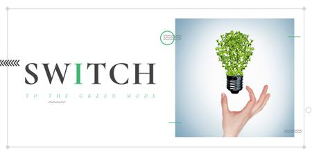 Template di design Eco Technologies Concept with Light Bulb and Leaves Twitter