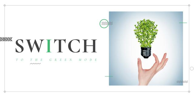 Eco Technologies Concept with Light Bulb and Leaves Twitterデザインテンプレート