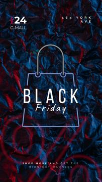 Black Friday Sale Glowing Shopping Bag | Vertical Video Template