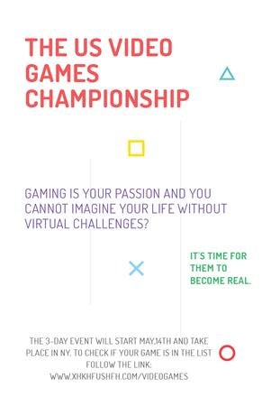Ontwerpsjabloon van Pinterest van Video games Championship Announcement