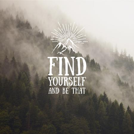 Motivational quote with Foggy Mountain Landscape Instagram – шаблон для дизайна