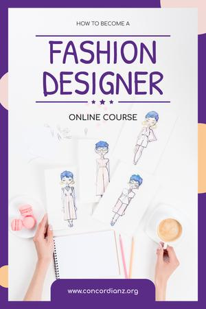Plantilla de diseño de Fashion Design Online Courses with Collection of Drawings Pinterest