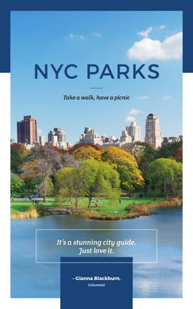 New York city park view Book Cover Design Template