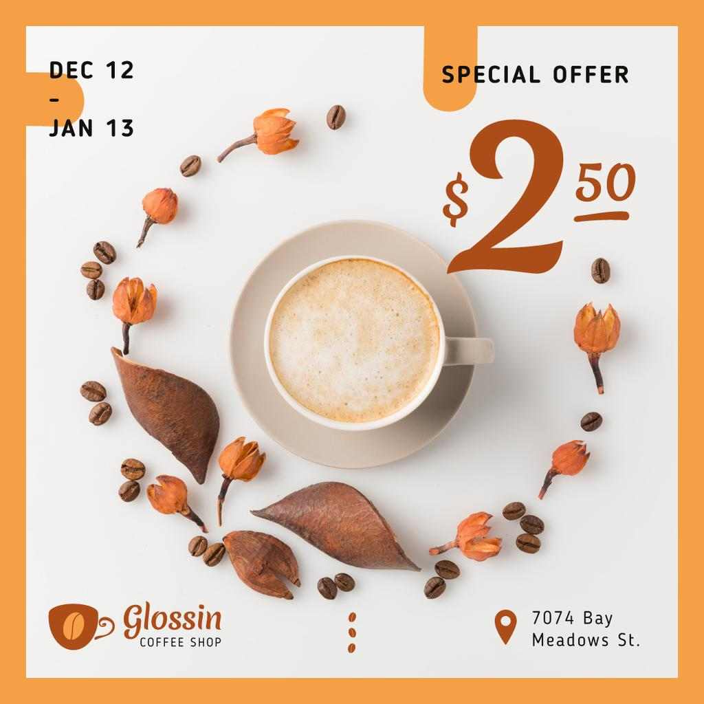 Discount Offer Cup with Coffee Drink — Создать дизайн