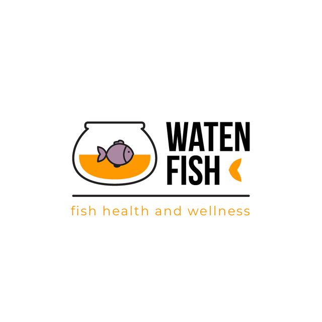 Pet Shop Ad with Fish Swimming in Aquarium Logoデザインテンプレート
