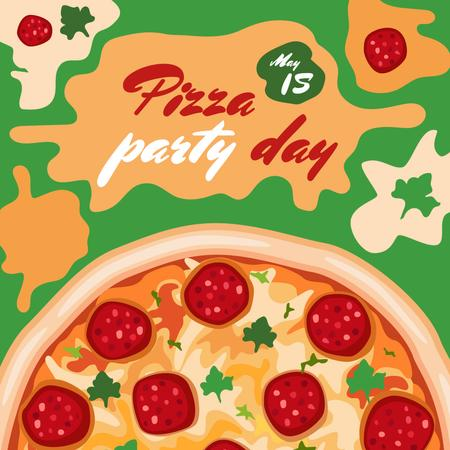 Ontwerpsjabloon van Instagram van Pizza Party Day Ad
