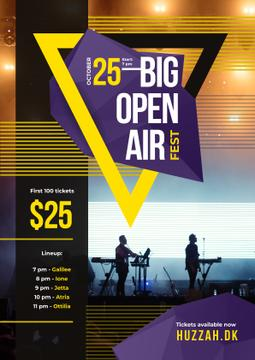 Open Air Fest Invitation with Band on Stage