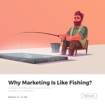 Man fishing in Smartphone