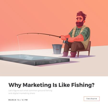 Plantilla de diseño de Man fishing in Smartphone Animated Post