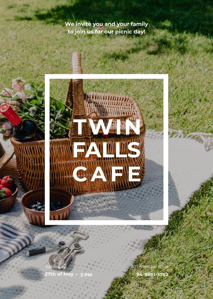 Cafe invitation with Picnic Basket on a Lawn — Modelo de projeto