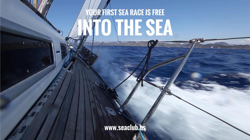 Vacation Offer Yacht Sailing Fast on Blue Sea —デザインを作成する