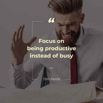 Angry Businessman with Productivity Quote