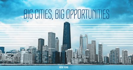 Big city opportunities with skyscrapers Facebook ADデザインテンプレート